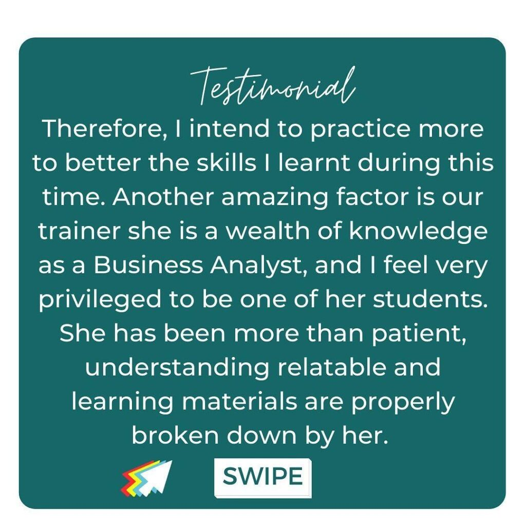student review of the Heels and Tech business analysis course